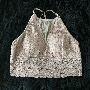 blush high neck lace and mesh bralette